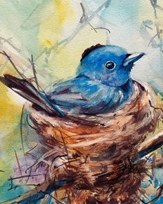 Fine Art Print from watercolor painting by CanotStopPainting Little blue bird in a nest art print, bird watercolor painting print, giclee print, bird wall art print PRINT DETAILS: printed on Epson art printer specialised in museum quality printing, on heavy weight archival (acid