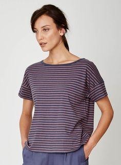 Marystow Stripe Hemp Jersey T-shirt Terracotta, small
