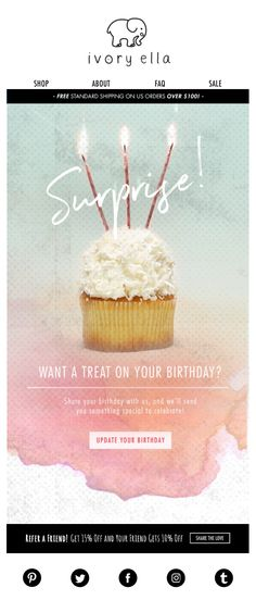 With this marketing email ivory ella encourages shoppers to share their birthda - Email Blasts - Ideas of Email Blasts - With this marketing email ivory ella encourages shoppers to share their birthday to earn a special reward.
