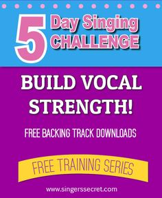 Build your vocal strength with this free 5 Day Singing Challenge! Comes with downloadable backing tracks! http://singerssecret.com/singing-challenge-build-vocal-strength/ #singing #singingtips