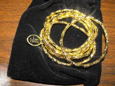 Joan Rivers Set of 6 Gold Tone Bamboo Stretch Bracelets