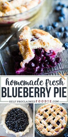 Blueberry Pie, made with a mountain of fresh flavorful blueberries and the absolute best butter pie crust you'll ever taste, is a classic dessert! One of the easiest homemade fruit pies you'll ever make will quickly become your favorite. I am a lover of pie, and this was the best pie I've ever made! #blueberry #pie #crust #fresh #homemade #best #recipe