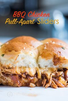Our juicy chicken is filled inside sliders with cheese and baked. They pull apart into the most amazing appetizers ever!