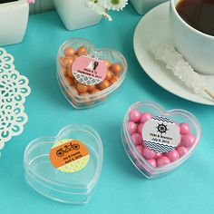 """""""Design Your Own Collection"""" Personalized Heart Shaped Plastic Box - Wholesale Favors"""