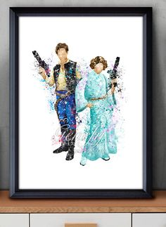 Star Wars Han Solo Princess Leia Watercolor Art by GenefyPrints