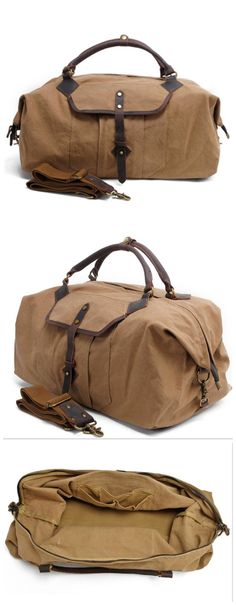 Leather Trimmed Waxed Canvas Travel Bag Duffle Bag Holdall Features: • Fabric Lining • Inside zipper pocket • It can hold a 17'' laptop, iPad, A4 document files, magazines, etc. **********************
