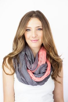 PINK GRAY SCARF colorblock infinity scarf color by gertiebaxter, $27.50