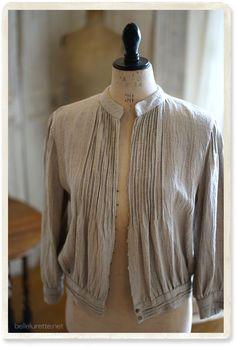 イギリスピンタックリネンジャケット - 【Belle Lurette】ヨーロッパ フランス アンティークレース リネン服の通販