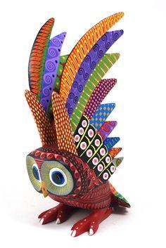 amazing carving - Oaxacan Fine Woodcarvings Mario Castellanos Aztec Owl