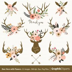 Deer Horn with Flowers. Floral Antlers Clip by Graphikcliparts Rustic Wedding Stationery, Antler Tattoos, Inspiration Artistique, Hand Drawn Flowers, Vector Flowers, Deer Antlers, Painted Antlers, Stock Art, Clipart