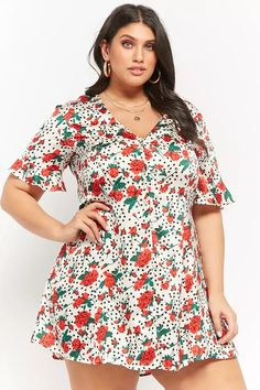 Product Name:Plus Size Floral Polka Dot Shirt Dress, Category:CLEARANCE_ZERO, Price:45