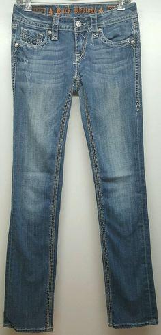 Rock Revival Cameron med wash distressed denim straight jeans womens W27 L34  #RockRevival #StraightLeg