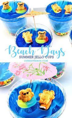 Beach Days Summer Jello Cups #summer #recipe #kids #kidfood #kidsinthekitchen #jello Jello Desserts, Kid Desserts, Jello Recipes, Fun Easy Recipes, Summer Desserts, Summer Recipes, Birthday Desserts, Holiday Desserts, Beach Treats