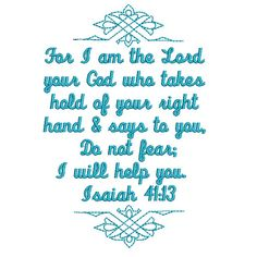 Isaiah 41:13 free Bible verse embroidery design