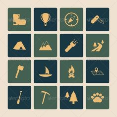 Outdoors tourism camping flat icons set of road mountain tree and nature isolated vector illustration. Editable EPS and Render in