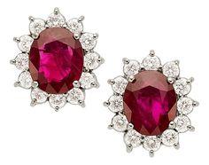 Burma Ruby, Diamond, White Gold Earrings.