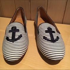 J. Crew Addie Printed Anchor Loafers Brand new in box! Selling because I've never worn and have too many shoes!  J. Crew Shoes Flats & Loafers