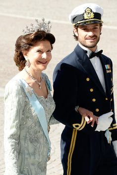 Prince Carl Philip (Carl Philip Edmund Bertil) (13 May 1979-living2015) Duke of Värmland, Sweden & his mother Queen Silvia (Silvia Renate Sommerlath) (23 Dec 1943-living2015) Germany-Sweden at the 8 Jun 2013 wedding of his sister Princess Madeleine (Madeleine Thérèse Amelie Josephine) (10 Jun 1982-living2015) Sweden to Christopher Paul O'Neill (27 Jun 1974-living2015) UK-USA. By unknown photographer in Popsugar Celebrity Magazine.