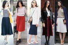 5 maneiras de usar saia midi plissada, já que é tendência para 2016 no blog da (Just Lia)