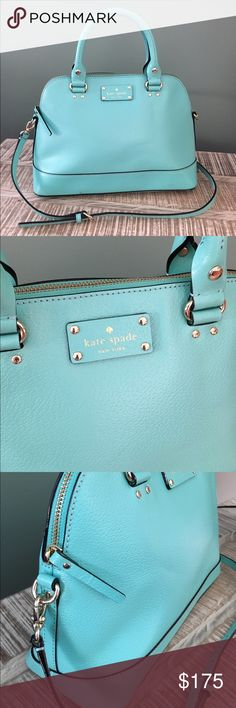 🎀Kate Spade🎀 Wellesley Rachelle Satchel Kate Spade Satchel In Freshair! New without tags!  Comes w/ dust bag.  Length: Base 12.5 inch Height: 9.25 inch Depth: 5 inch Handles: 4 inch drop Shoulder Crossbody Strap: Removable & 5 prongs adjustable Kate Spade cowhide leather in Freshair  14-karat light gold plated hardware KSNY signature embossed Logo Durable rolled leather handles Detachable, 5 prongs adjustable leather shoulder crossbody strap.  Kate Spade custom woven fabric lining  Zip & 2…