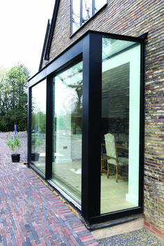 Exterior view of Sliding Glass Doors with Structural Glazing featured in The House in the Wood. Sliding Door Design, Room Door Design, Sliding Glass Door, Sliding Doors, Glass Doors, Modern Patio, Modern Exterior, Home Garden Design, House Design