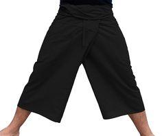 dc463ef8635e47 Thin Striped Cotton Plus Fisherman Capri Wrap Plus Pants - XX-Large - Black  - C712CKNF803