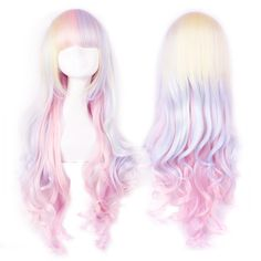 Harajuku gradient rainbow ice cream lolita long curly wig sold by Harajuku fashion. Shop more products from Harajuku fashion on Storenvy, the home of independent small businesses all over the world. Kawaii Hairstyles, Pretty Hairstyles, Wig Hairstyles, Curly Wigs, Long Curly Hair, Curly Hair Styles, Hair Wigs, Anime Wigs, Anime Hair