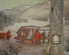 A diorama in the Hall of New York State Environments showing the process of making maple syrup