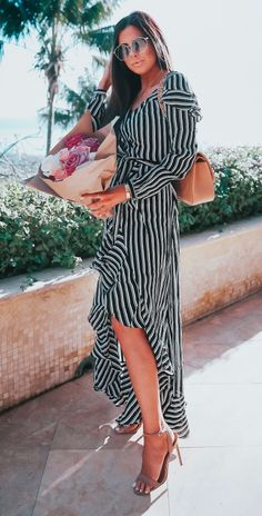 Long Black and white striped dress: ASOS, Steve Madden High Sandals, Chanel Bag, Gucci Sunglasses, The Styled Collection Bracelets and flowers. Emily Gemma, The Sweetest Thing Blog. Summer Trends, Spring Trends, Fashion Style, Fashion Blogger, Summer event Outfit #summertrends #thesweetestthingblog #EmilyGemma