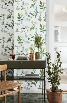 """Köksvaxter-Design by Lisbet Jobs. An amazing, blooming pattern with Lisbet's characteristic style. The pattern was made in the 1950's and the fresh, green plants keep a sense of summer in the room all year round.#herbarium <a href=""""http://scandinavianwallpaper.com/scand-des-2-bor%C3%A5stapeter""""style=""""color:#89CFF0;"""">Show collection Scandinavian Designers II</a>"""