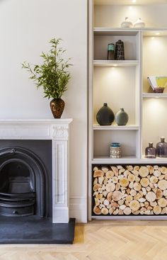Victorian Townhouse Highgate - Living Room Fireplace And Joinery Detail - LLI Design Home Upgrades, Victorian Townhouse, London Townhouse, Victorian House Interiors, Victorian Living Room, Modern Victorian Decor, Farmhouse Side Table, Farmhouse Decor, Modern Farmhouse