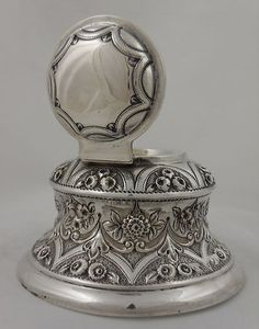 ANTIQUE STERLING SILVER INKWELL - LONDON 1894