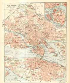 1905 Original Antique City Map of Stockholm by CabinetOfTreasures