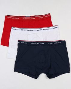 Tommy Hilfiger 3 Pack Boxer Shorts White/Red/Navy,trunks,underwear,mens