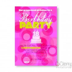 79 best funky adult birthday personalised invitations images on pink circles retro cake themed single sided personalised birthday invitations from as little as filmwisefo