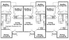Triplex House Plans-- 1,387 s/f ea unit---3 beds + 2 ba
