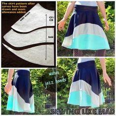 Costura Like Mad: Cómo redactar un patrón falda ajuste personalizado con una cintura ancha.  #tutorial por cathy