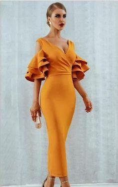 Amal Bandage Kleid-Mandarine - New Year Trendy Dresses, Elegant Dresses, Sexy Dresses, Nice Dresses, Evening Dresses, Fashion Dresses, Prom Dresses, Dress Prom, Formal Dress