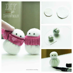 DIY Mini Felt Snowman | onelmon    Too cute!