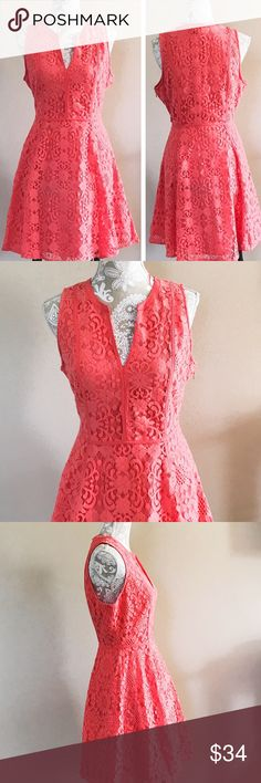 "Lauren Conrad coral lace dress Brand new with tag. Fully lined, 65% cotton 35% nylon. Waist 31"" bust 40"" length 35"". Size says 12 but runs small. Please refer to the measurements. Hidden side zip closure. No trades 🌷 LC Lauren Conrad Dresses Midi"