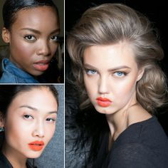 """""""Orange Lips: Orange, once again, was the lip color of choice for Spring 2014. We already saw this trend on the New York runways, and it would seem that this is one look that is internationally recognized.""""  Might try this! I have the same colouring of the model on the right....and I think my skin is better!"""