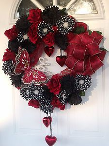 Image detail for -VALENTINE-DAY-WREATH-BLACK-RED-WHITE-POLKA-DOT-HEART-ROSE-DAISY ...