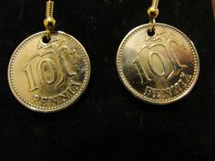 ORIGINAL HANDMADE 1963 FINLAND 10 PENNIA BRASS COIN EARRINGS !