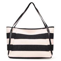 Sale 22% (11.53$) - New Korean Fashion Retro Navy Striped Canvas Single-shoulder Bag