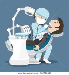 Vector illustration. Dentist treats teeth.