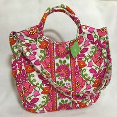 Vera Bradley Two Way Tote Lilli Bell Crossbody Shoulder Bag White Pink Orange 886003199282 | eBay