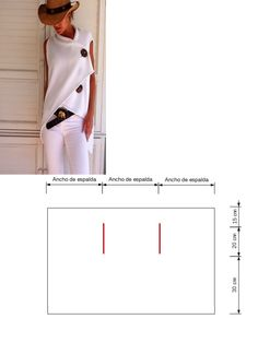 fabric rectangle = vest - Another! Diy Clothing, Sewing Clothes, Sewing Stitches, Sewing Patterns, Diy Fashion, Fashion Outfits, Dress Making Patterns, Creation Couture, Hippie Outfits