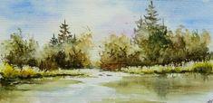 aquarelle,paysage,ampagne,abby,carte postale,arbres,reflets,rivière,eau,champ,sapins