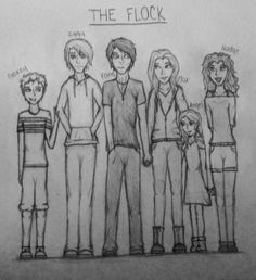 The Flock | Gazzy, Iggy, Fang, Max, Angel, and Nudge. Pretty much exactly how I pictured them!