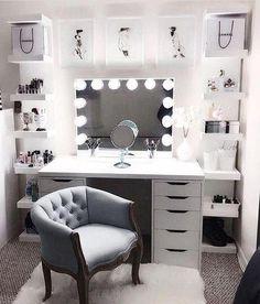 Large DIY Makeup Room Ideas, Organizer, Storage and Decoration ( Room Idea) - Makeup Room Ideas - - Dekoration Ideen - Beauty Room Vanity Room, Mirror Vanity, Diy Mirror, Vanity Chairs, Wall Mirror, Vanity In Closet, Closet Desk, Mirror Kit, Ikea Mirror